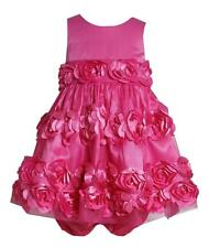 New Girls Bonnie Jean sz 12m Pink 3-D Flower Dress Clothes Birthday Easter $60
