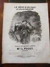Partition Sheet Music 19 ème Siècle Le rêve d'un page L Puget Eau Forte 1844