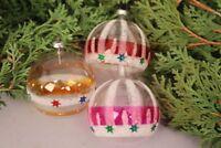 Christbaumschmuck Weihnachtskugeln Set 3 Stück Glas fein handbemalt Weihnachten