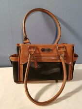 Time and Tru Jemma Satchel Brown Black Women's Tote Handbag Bag Purse