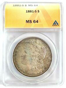 ANACS MS64*** 1881-S Morgan Silver Dollar ***RAINBOW TONER*** (271)