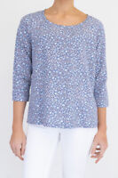 Fat Face Womens Lilac Blue Stylish Floral Casual Jersey Ladies Cotton Top Sz 12