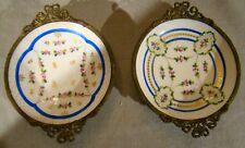 Pair Antique Paris Porcelain After Sevres Brass Bound Condiment Dishes 1800-1825