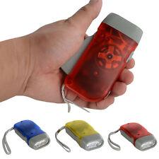 No Battery 3 LED Hand Press Crank Squeeze Powered Dynamo Flashlight Torch Light