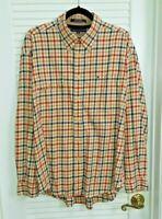 Mens Tommy Hilfiger Plaid Long Sleeve Shirt Pen Pocket 100% Cotton Sz XL