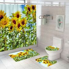 Bathroom Rug Set Shower Curtain Bath Mat Non Slip Toilet Seat Lid Cover