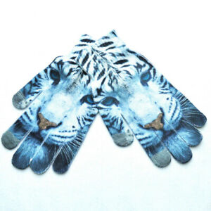 Women Men 3D Animal Print Knitted Gloves Warm Touch Screen Full Finger Mittens