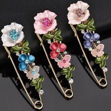 Fashion Flower Plant Rhinestone Piercing Brooch Pin Breastpin Women Jewelry Gift