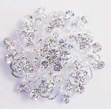 DIAMANTE AND  SILVER COLOUR FLOWER BROOCH 55MM