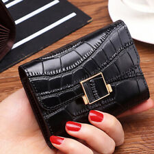 100% Genuine Leather Women's Crocodile RFID Blocking ID Card Holder Coin Wallet
