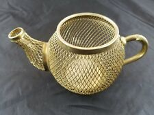 """VINTAGE COLLECTIBLE Gold Wire Mesh Tea Kettle 3"""" Tall 3.25"""" Diameter Home Decor"""