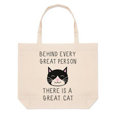 Behind Every Great Person Is A Great Cat Large Beach Tote Bag - Crazy Lady