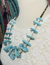 """VTG Native American Turquoise Nugget & Heishi Necklace Sterling Silver- 22 3/4"""""""