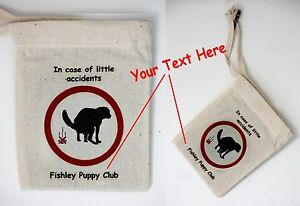 Cotton Poo Bag Carrier Multi Packs for Puppy Clubs or Groups Can be Personalised