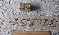 "Antique Hand Embroidered Lavender Floral Silk Border Fabric~Ethnic Design~60""X5"""
