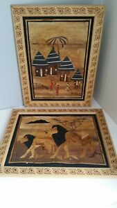 Hand Carved Authentic African Wooden Wall Art / Pictures Lion, Village, Family