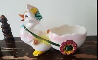 Easter Duck Pulling Egg Cart Grant Crest Pottery Hand Painted Japan Vintage Flaw
