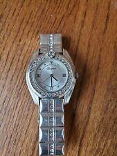 Brighton Dana Point Clear Acrylic Lucite Swarovski Crystal Watch, New Battery