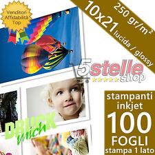 100 FOGLI CARTA FOTOGRAFICA 10X21 FOTO GLOSSY LUCIDA 250 GR. PER STAMPANTI INKJE