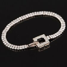 ROSE GOLD PLATED  MADE WITH SWAROVSKI CRYSTALS BUCKLE TENNIS CHAIN BRACELET GIFT
