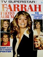 Farrah Fawcett Majors Magazine 1977 TV Superstar Charlie's Angels Poster EX COA