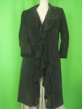 MARGARET GODFREY Soft Black Suede Leather NEW Long Coat 12