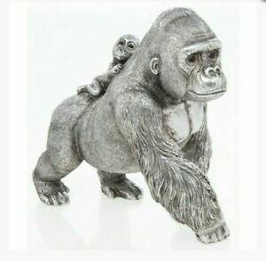 SILVER ART REFLECTION GORILLA MOTHER AND BABY DECORATION ORNAMENT
