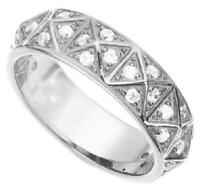 Genuine 925 sterling silver GEOMETRIC PAVE CZ BAND RING, wedding, engagement