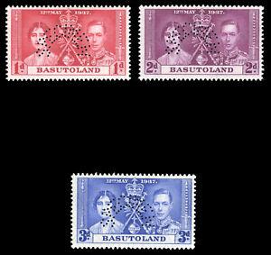 Basutoland 1937 KGVI Coronation set optd SPECIMEN very fine mint. SG 15s-17s.