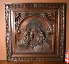 Antique French Breton/Brittany in Solid Chestnut Wood with Peasant Couple