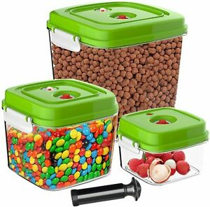 Pack of 3 Food Storage Containers Vacuum Kitchen Storage Food Containers w/ Lid