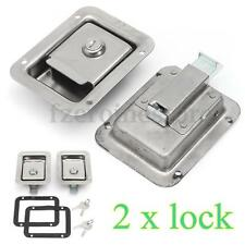 2Pcs Stainless Steel Paddle Door Lock Latch Handle Truck Tool Box Trailer + Keys