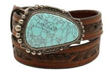 Nocona Western Girl Belt Kids Leather Pierced Stone Buckle Brown N4440502