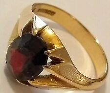 Vintage 1972 Hm'd 9ct Gold & Solitaire Garnet Gypsy Style Ring, UK S1/2, 5.3grm.