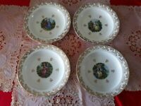 Antique French Soup Dinner Plate service for 4 Gilding - 1940 Porcelain Limoges