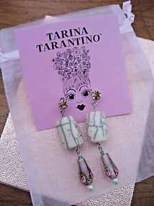 Tarina Tarantino Earring Long Rose Glass w Crystal & Pearl & Howlite Stone NWT