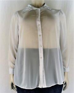 Women's Sheer Chiffon Full Sleeve Collar Shirt Blouse Tunic, Plus Size 14-32