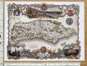 Old Antique Victorian map Sussex, Brighton England: c1830's: Moule: Reprint