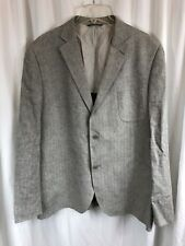 Black Saks Fifth Avenue Gray Herringbone Linen Rayon Slim Coat Jacket L/XL WOW