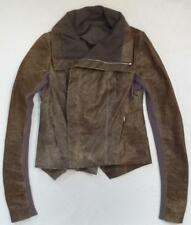 Rick Owens Brown Distressed Lambskin Leather Motorcycle Jacket RP-2710 Excellent