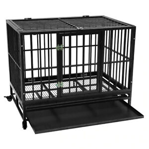 """42"""" Heavy Duty Dog Cage Crate Kennel Metal Pet Playpen Portable with Tray Black"""