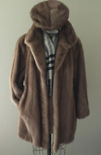 GENUINE SAGA MINK FUR CAR COAT & HAT IN CAMEL COLOR SIZE 12/14 NICE CONDITION