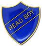 Head Boy Pin Badge in Blue Enamel Shield
