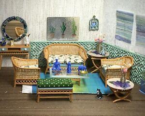 1:16 Dollhouse cane rattan living room set sofa armchairs stool floral beige