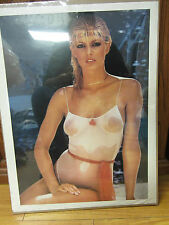 Vintage 70's model by the beach poster