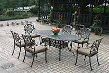 Cast Aluminum Patio Furniture Elisabeth 7pc Outdoor Dining Set with Oval Table