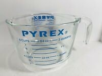 Vintage Pyrex Large 8-Cup Glass Measuring Cup w/ Pour Spout Blue Letters