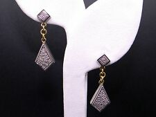 10k Yellow White Gold .36ct Round Cut Diamond Pave Dangle Link Chain Earrings