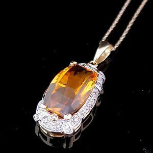 "Estate Fancy Citrine & Diamond 18K Yellow Gold Over Pendant 18"" Chain Necklace"