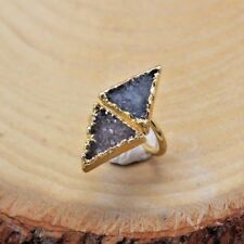 Double Triangle Natural Druzy Geode Stone Sterling Silver 18K Gold Plated Ring